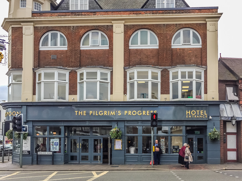"A Bedford hotel named after the famous John Bunyan book, ""The Pilgrim's Progress."""