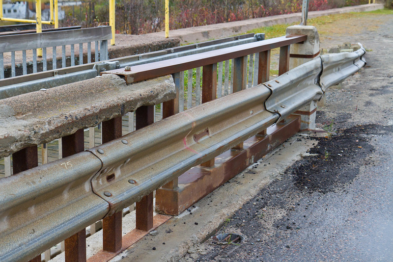 Section of concrete railing replaced