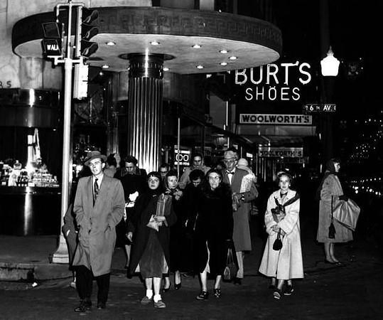Shopping Downtown at Night