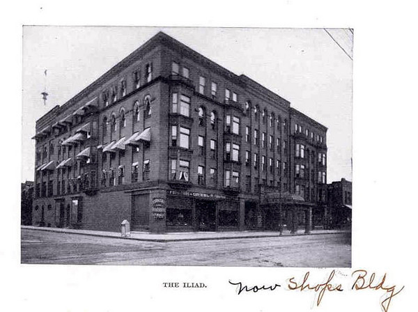 The Iliad Hotel Located in the Exposition Bldg.<br /> Also home to the Grand Department Store.<br /> Later became known as the Shops Building.<br /> Current site of an office building.<br /> 8th & Walnut
