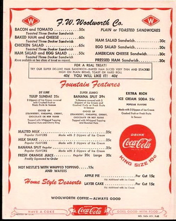 FW Woolworth Lunch Counter Menu