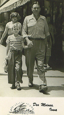 Father & Son shoe shopping<br /> in East Des Moines. c1952