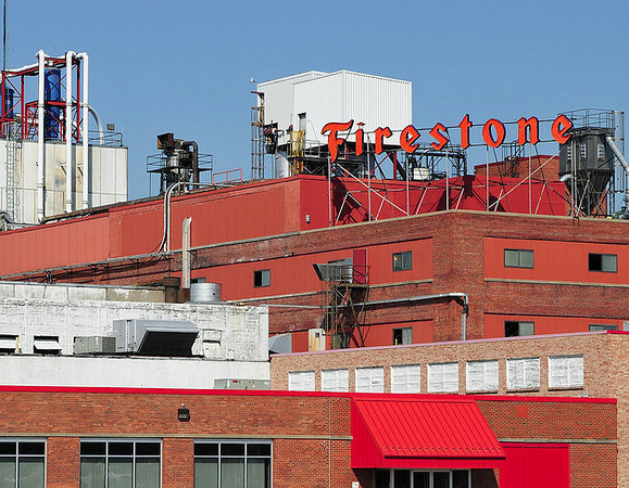 Firestone Tire Plant<br /> 2nd Avenue<br /> Sign replaced with Bridgestone<br /> after Ford Explore issues.