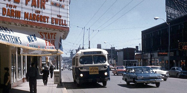 Looking east on Grand Avenue.<br /> The Des Moines Theater showing the movie State Fair<br /> a remake of the 40's movie filmed at the Iowa State Fair.