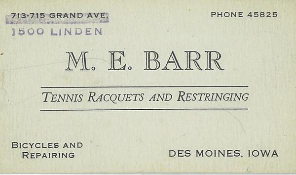 M.E. Barr Business Card