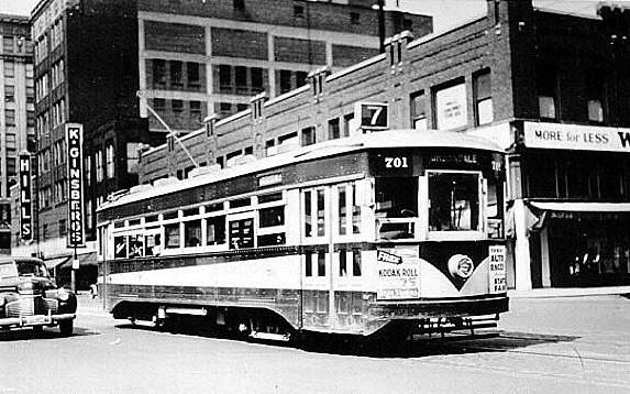 Early Mass Transit.<br /> DM Lightrail<br /> Heading east on Walnut Avenue