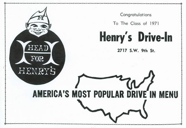 Promotion for Henry's on SW 9th Street - 1971