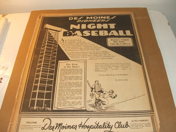 Publicity for Professional Baseball's<br /> first night game.  Played at Pioneer Park<br /> on 2nd Avenue.  Currently North High<br /> School's ball field.