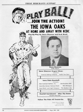 Advertising promoting Iowa Oaks Baseball Radio Broadcasts