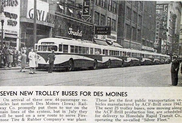 DM shows of new buses in front of Frankels.<br /> 612 Locust