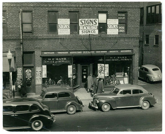 Barr Bicycles & Repair and Tennis Racket Repair<br /> 713-715 Grand Avenue<br /> c1940s