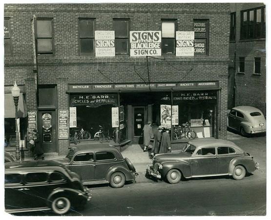 Barr Bicycles & Repair and Tennis Racket Repair<br /> 713-715 Grand Avenue<br /> c1940s