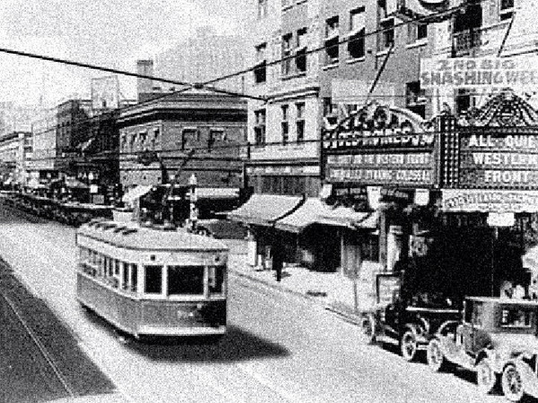 Early days of Mass Transit.<br /> Des Moines Theater.
