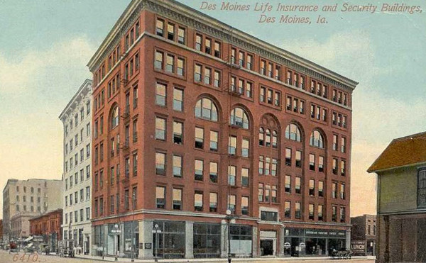 Des Moines Life Insurance & Security<br /> Built 1910<br /> 7th Street South of Grand