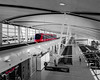 The passenger shuttle inside the Detroit Airport Terminal.