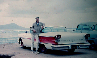 Mike at Rosarito Beach with '58 Pontiac