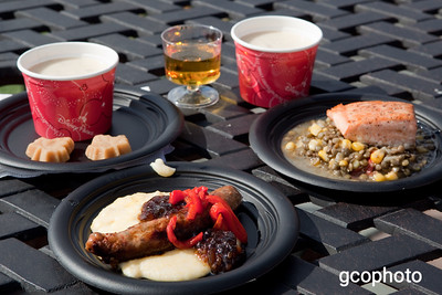 Montreal, Canada - Canadian Cheddar Cheese Soup; Maple Glazed Salmon with Lentil Salad; Spicy Chicken Sausage with Sweet Corn Polenta; Maple Sugar Candy; Chateau des Charmes Vidal Icewine