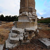 Ancient Ephesus, Turkey - the only column left standing of one of the 7 Wonders of the World - the temple of Artemis / Diana - crumbling base