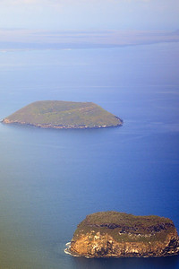 First view of Galapagos Islands from airplane