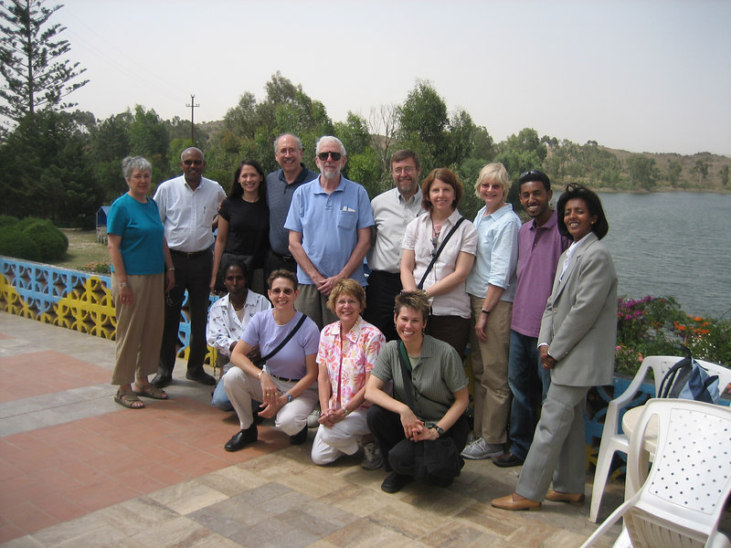 Our group, L to R, back row:  Ruth Ladenson (Jack's wife), Melles Seyoum (director of Eritrean National Laboratory), Rebecca Davila, Victor Davila (Cardiologist, Washington University, and Rebecca's dad), Jack Ladenson (Washington University), Dave Windus (Nephrologist, Washington University), Amber Wamhoff (diabetic educator), Cindy Merrins (head of the diabetes team), Tecli (Eritrean diabetic nurse), Tsegue (Melles' wife);  Front Row:  Our driver, Ann Gronowski (Washington University), Mary Lawrence (diabetic nurse), me