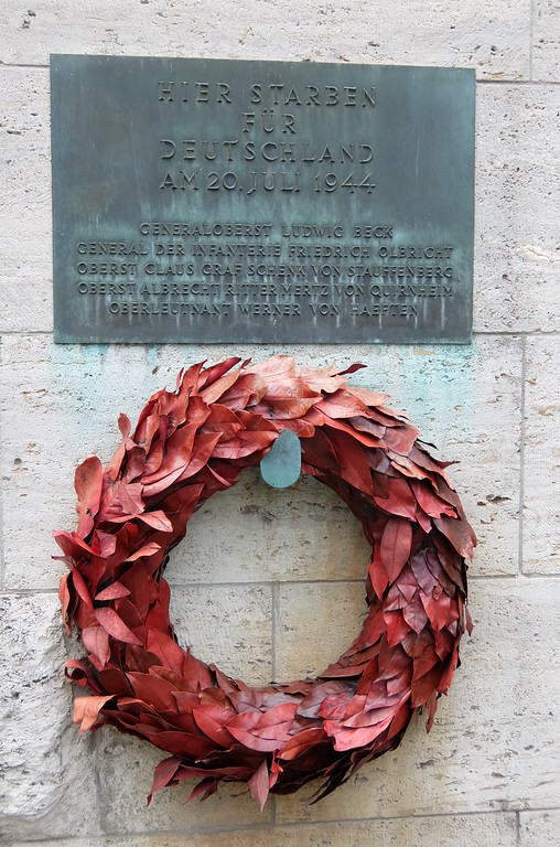 A plaque in the inner courtyard of the Memorial to the German Resistance, near the spot where Claus vonStauffenberg and others were executed in July 1944 after their failed attempt to assassinate Adolph Hitler.