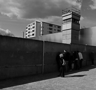Guard Tower on Berlin Wall Overlooking  No Man's Land