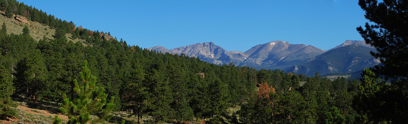 Panoramic of the mountains visible from our campsite, just after dawn, looking north.