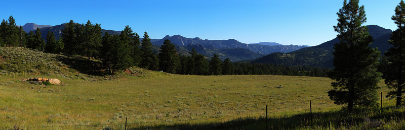 A panoramic view from a meadow near our campsite.  Taken shortly after sunrise, looking east-northeast to north (left side of image).