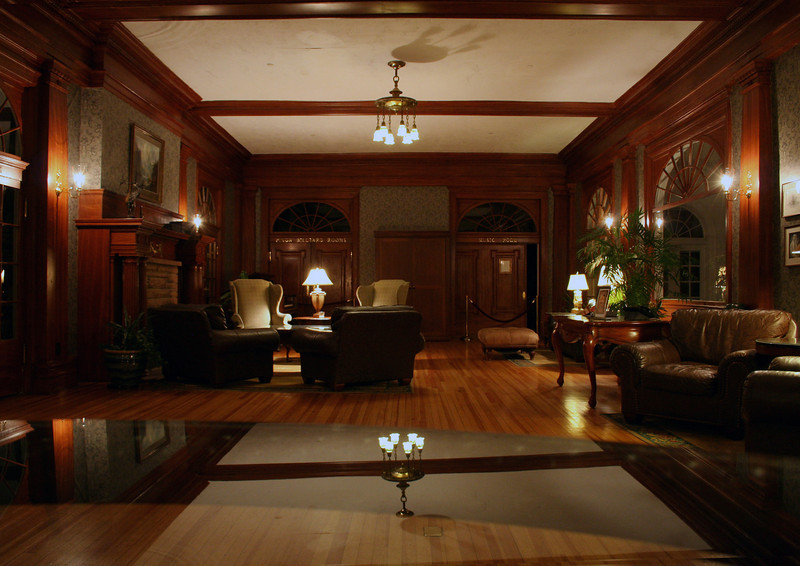 One side of the lobby of the Stanley hotel...