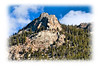 A rock formation, mountain peak, in Estes Park in winter; the detail in this image is better viewed in a larger size.