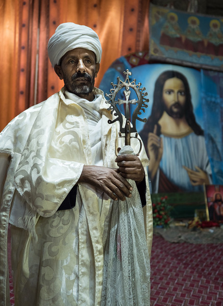 Priest with Lalibela Cross, Bet Medhane Alem