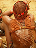 """Open wounds and scars at bare back of the Hamer woman after been whipped by """"maza"""" in several ceremonies."""