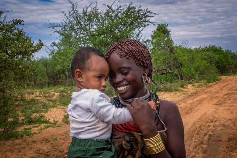 Grandson Adam meeting Hamar girl, Southern Ethiopia