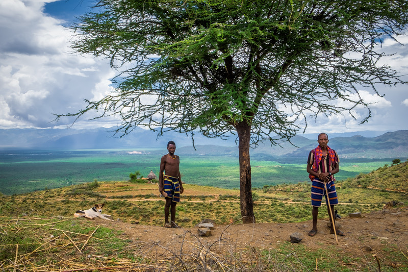 Two man and a dog, Southern Ethiopia