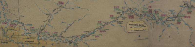 Map from Eugene to Finn Rock Landing
