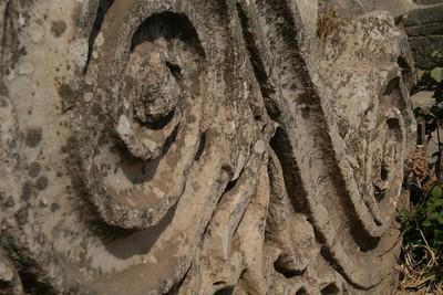 Scroll work on greek ruins, Epheses Turkey