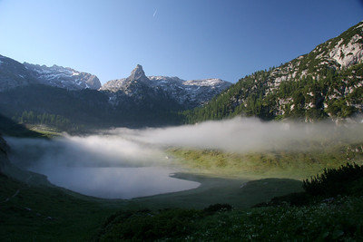 Early morning in the German Alps, Karlingerhaus hutte near Konigsee