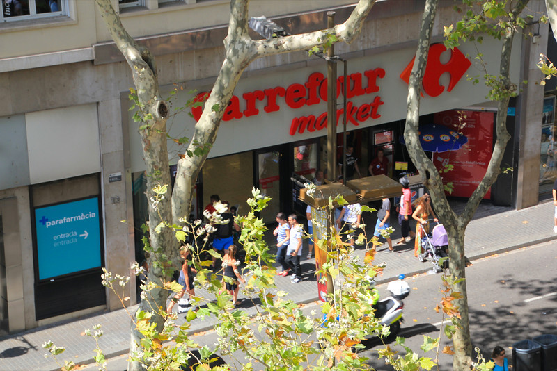 View of Supermarket from our hotel balcony on Las Ramblas