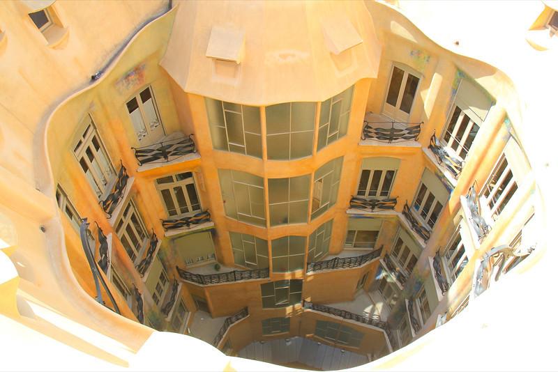 Looking down the courtyard at La Padrera, Antoni Gaudi architect