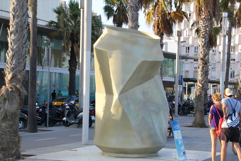 Large soda can at Barcelona Beach board walk