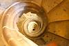 looking down the spiral staircase at La Segrada Familia, Antoni Gaudi Architect