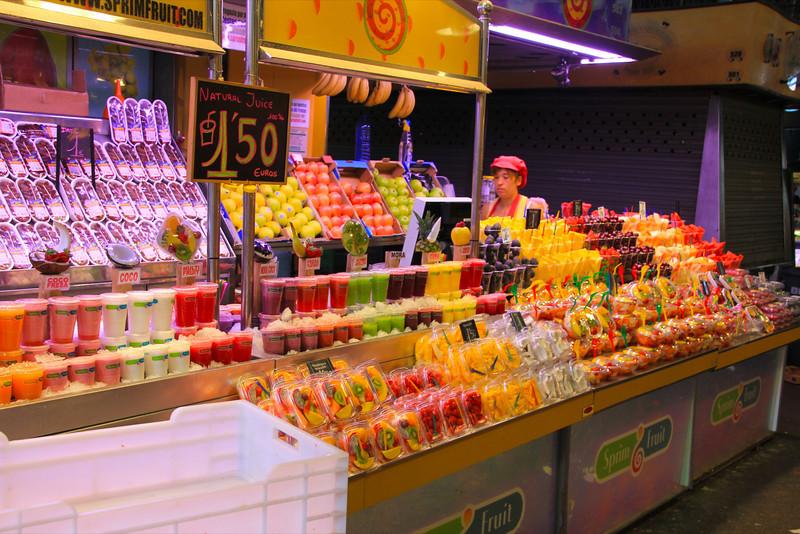 Smoothies at La Boqueria, Las Ramblas Barcelona