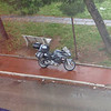 Prato hotel, bike parked on sidewak, visible from my room.