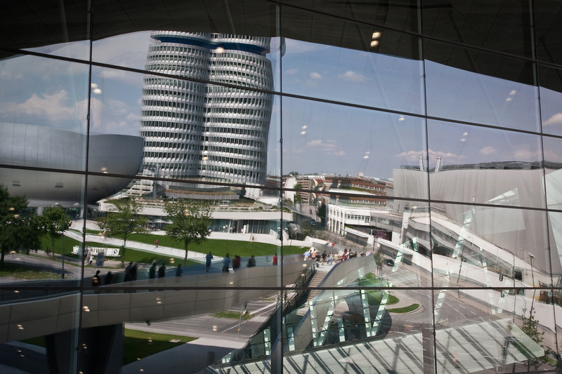 BMW World -- HQ, factory and museum reflected on BMW Welt