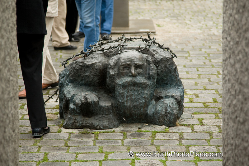 Along with the political opponents of National Socialism, Jews were the first target of Nazi terror.  After 12 May 1938, Jewish citizens of Vienna were forced to scrub the streets that had been smeared with slogans.  The bronze rendering of a kneeling, street-washing Jew  is a reminder of the degradation and humiliation that preceeded their being targetted for extermination.