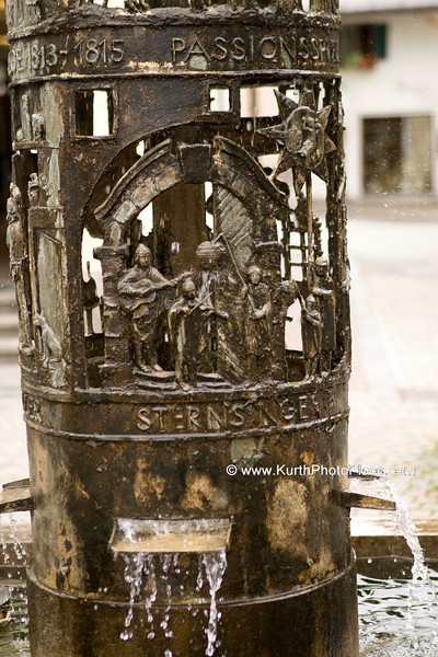 Fountain in Oberammergau depicting how the town was saved from the plague
