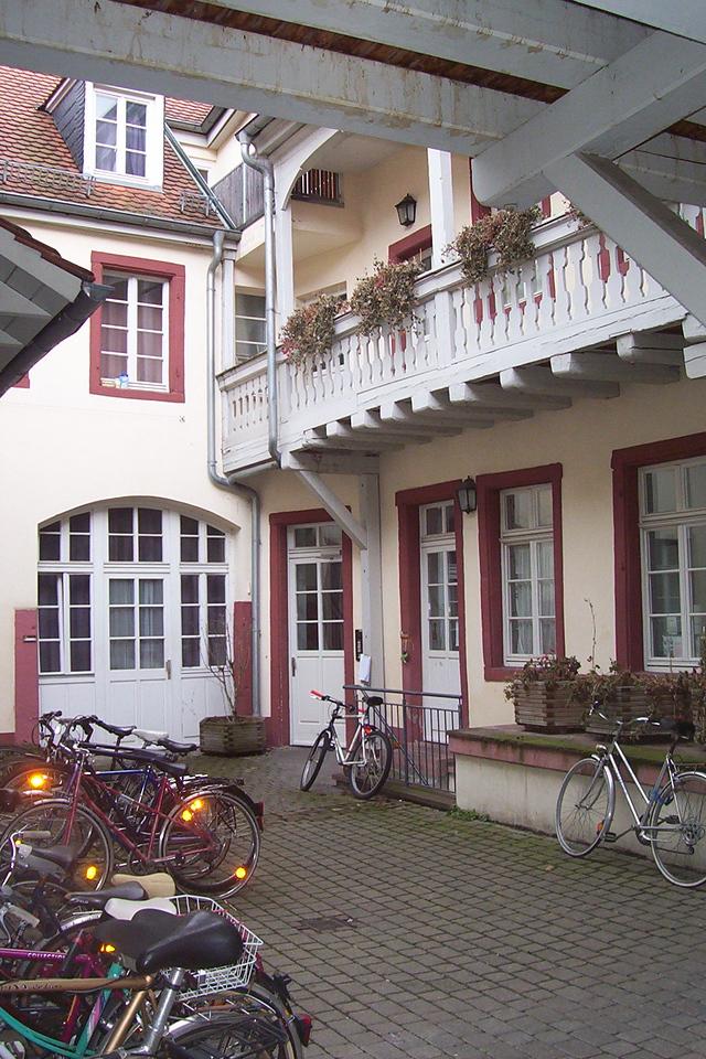 Interior courtyard of Europahaus 1. Derek's room on second floor corner.
