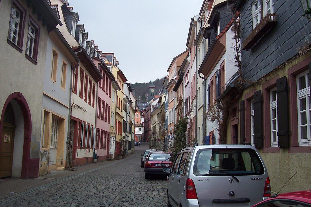 Longer view of the dorm street.
