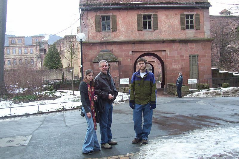 Lindsay, Greg and Derek in front of moat gate to Heidelberg castle.