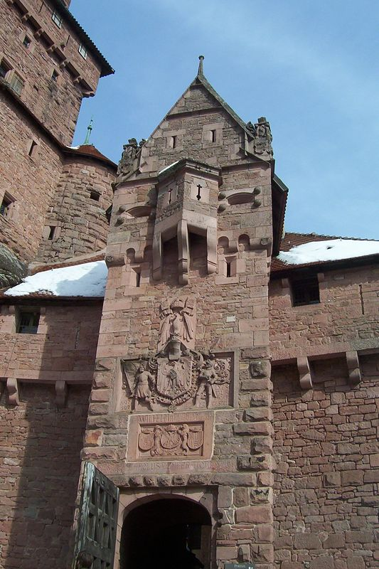 Entry gate to the Kroenenburg Castle in Alsace, north of Colmar, France about 50 km.